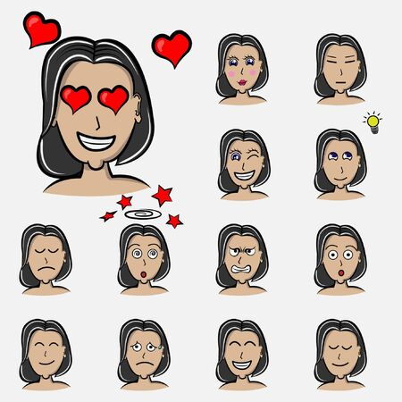 in love of woman's emotions. Facial expression. Girl Avatar. Hand drawn style vector design illustrations with hair style emoticon, emoji, emotion Ilustração
