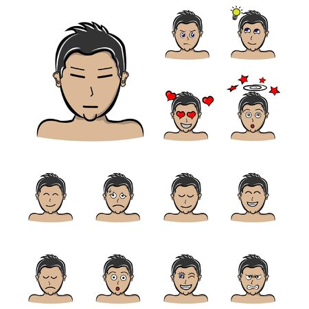 Set of different emotions male character. Handsome man emoji with various facial expressions. Vector illustration in cartoon style