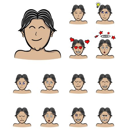 emotions man middle parting hair male character. Handsome man emoji with various facial expressions. Vector illustration in cartoon style