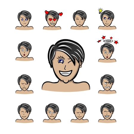 Set of different emotions male character. man emoji with bangs hair style.boy with parted side hair