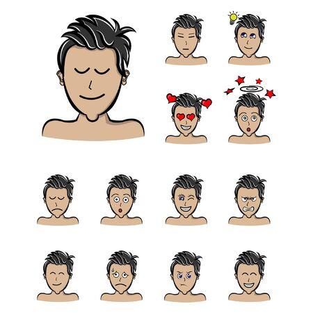 face boy sad expressions Vector. cartoon style illustration man emotions Ilustração