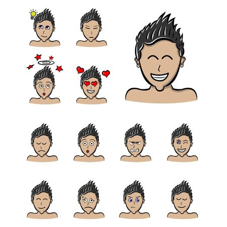 spiky hair style man emotions, Vector boy face expressions cartoon style. emoji male