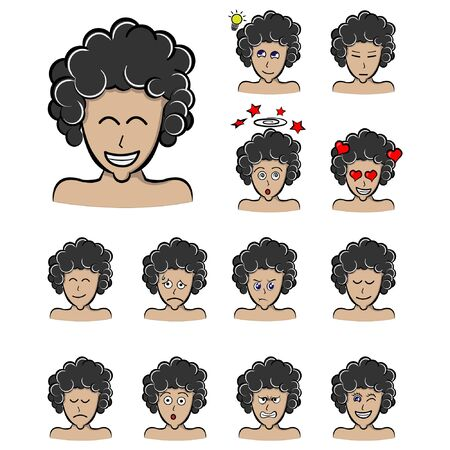 happy man with frizzy hair. Set of different emotions male character. Handsome man curls hair style emoji with various facial expressions. Vector illustration in cartoon style