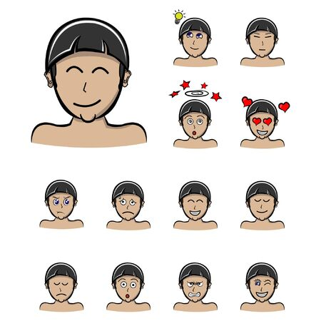 smile boy Set of different emotions male character. Handsome man emoji with various facial expressions. Vector illustration in cartoon style
