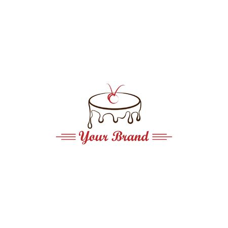 Logo simple de gâteau de tarte. Boutique de mascotte de pain Boulangerie fondre .Gâteau d'anniversaire pour la marque de votre entreprise alimentaire