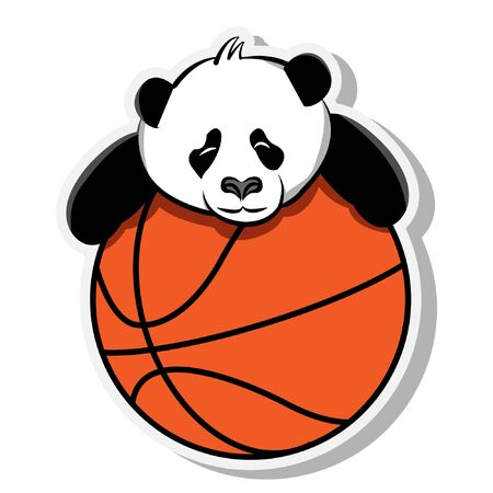lazy panda on the orange basketball sticker mascot cute funny animal