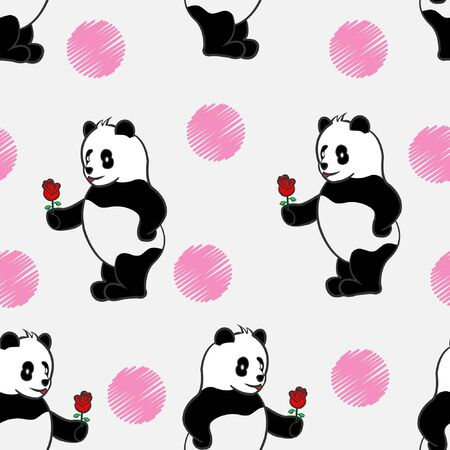 panda gives rose flower red. in love valentine romance. cute seamless pattern PANDA animal wild bear repeat pattern with love and white background