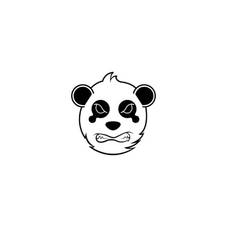 panda face fierce logo. vector bear mascot cartoon character doodle illustration