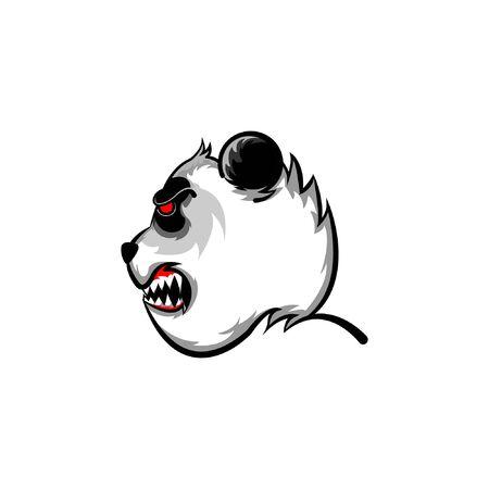 panda fierce face side view logo mascot. Bear vector panda isolated cartoon character doodle illustration