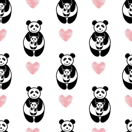 Panda carry hug baby seamless pattern repeat. illustration cute bear parent takes care baby . with love pink heart and white background