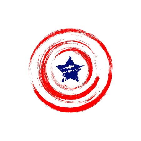 shield illustration . red circle blue star like flag america for your brand, pin and other print grunge style Ilustración de vector