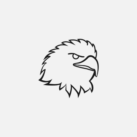 angry eagle logo. vicious face Vector illustration with line art style fierce face bird violent mascot