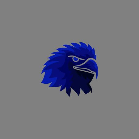 Scary eagle vicious logo Vector illustration with blue color American eagle.Fierce face bird violent mascot