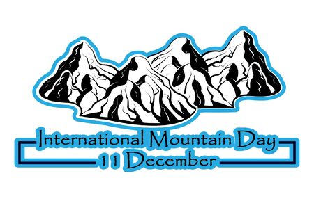 International mountain day, December 11,extreme mountains rock landscape adjacent nature outdoor vector with hand drawn