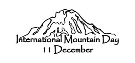 International mountain day, December 11, extreme mountains rock landscape silhouette a nature outdoor hand drawn vector.