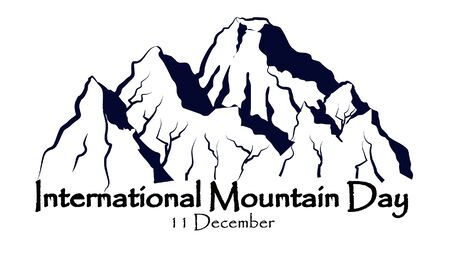 International mountain day, December 11,EVEREST mountains landscape nature outdoor vector with hand drawn and lettering