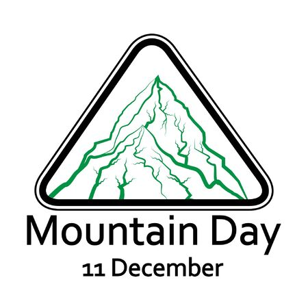 International mountain day, December 11,extreme mountains rock landscape silhouette nature outdoor vector with hand drawn