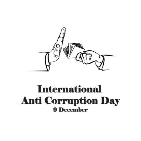 International anti-corruption day, 9 december, banner poster anti corruption illustration for printing