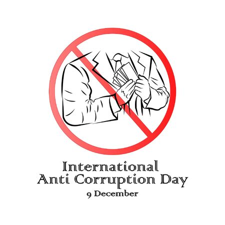 International anti-corruption day, 9 December, banner poster anti corruption illustration for printing Illustration
