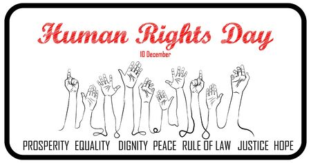 Human Rights Day, 10th of December. hands up with lettering design illustration