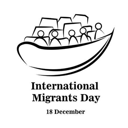 Illustration immigrant go leave to other country with ship boat. International Migrants Day global migration concept 18 december
