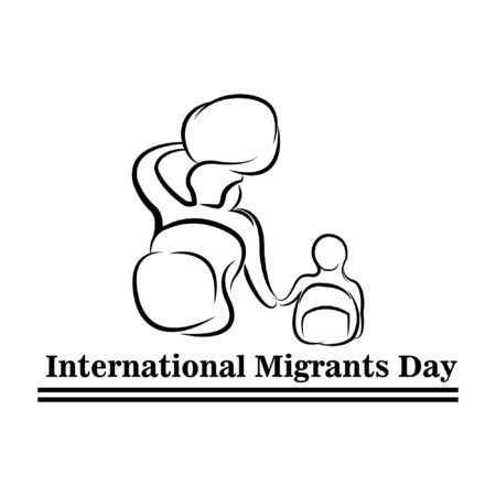 Family go leave country. International Migrants Day global migration concept illustration 18 December Illustration
