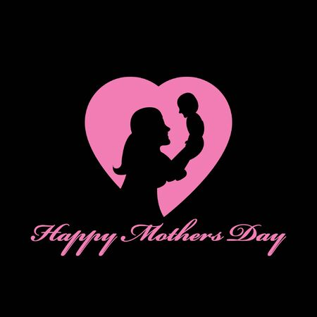 Happy mother's day.mother hug baby logo illustration. mom take care boy and daughter Logo