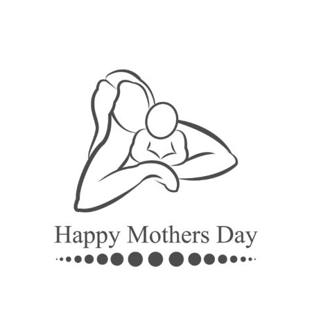 happy mother's day, mother holding baby, mom hug son illustration logo