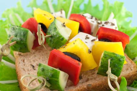 receptions: canape from fresh vegetables on a bamboo stick. An indispensable attribute of the parties and receptions