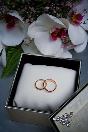 Two wedding rings in a box photo