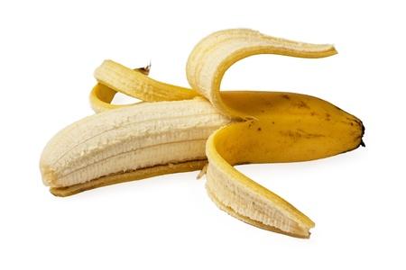 peeled ripe banana isolated on white background Stock Photo