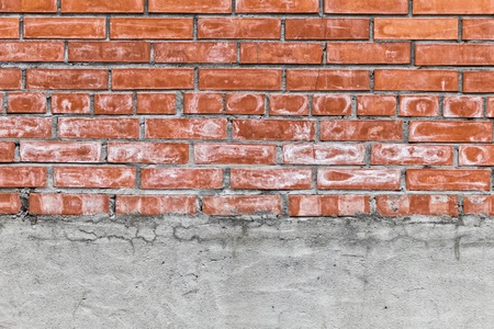 horizontal red brick and concrete wall texture with copy space Stock Photo - 15253557