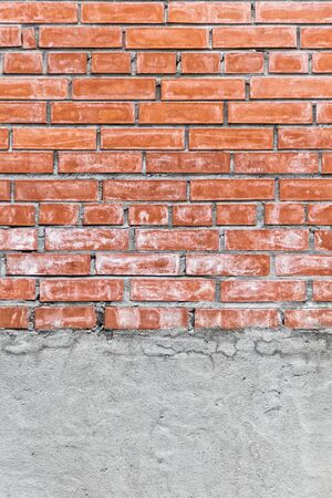 vertical red brick and concrete wall texture with copy space Stock Photo - 15253559