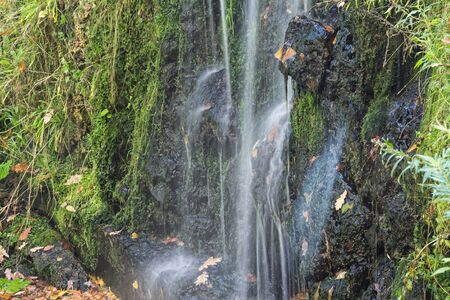 small waterfall in the park, with fallen leaves at the bottom photo