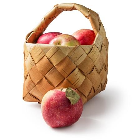 basket of fresh apples isolated on white background Stock Photo - 15726892