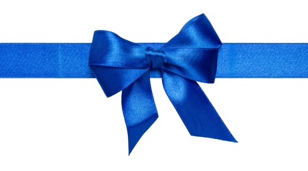 blue ribbon bow isolated on white background photo