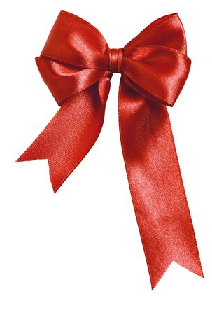red bow: Festive red bow made of ribbon isolated on white