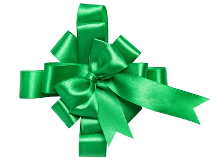 Festive green bow made of ribbon isolated on white Stock Photo