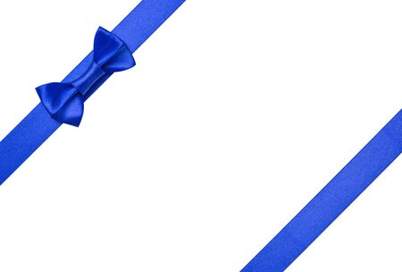 Blue ribbons with bow isolated on white background Stock Photo - 16145519