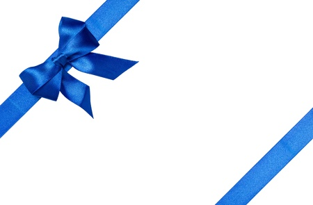 Blue ribbons with bow with tails isolated on white background Stock Photo - 16145557