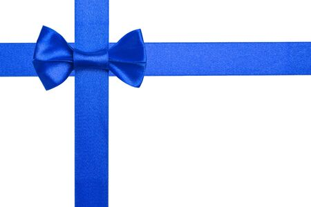 Blue ribbons with bow isolated on white background Stock Photo - 16145562