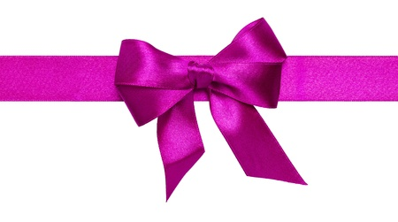 Purple ribbon with bow with tails isolated on white background Stock Photo - 16145569