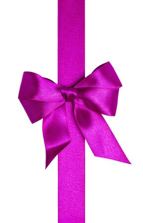 Purple ribbons with bow with tails isolated on white background Stock Photo - 16145585