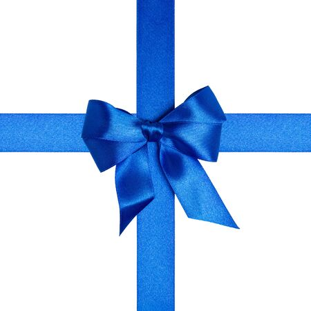 square  with blue ribbons and a bow isolated on white Stock Photo - 16293417