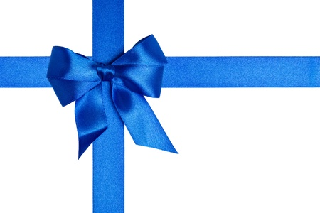 composition  with blue ribbons and a bow isolated on white Stock Photo - 16293433
