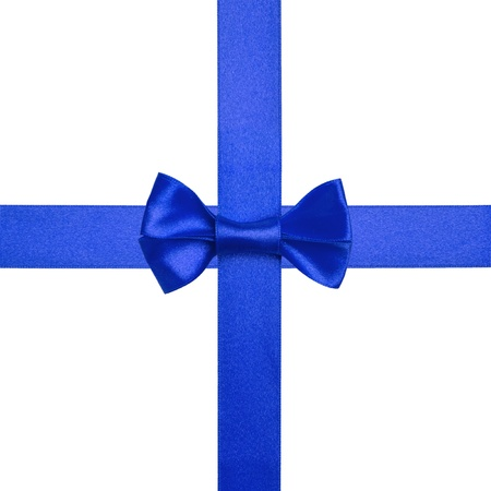 square  with blue ribbons and a bow isolated on white Stock Photo - 16293390