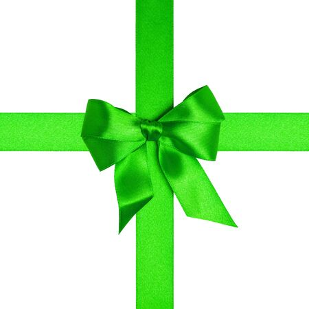 square with green ribbons and a bow isolated on white Stock Photo - 16293413