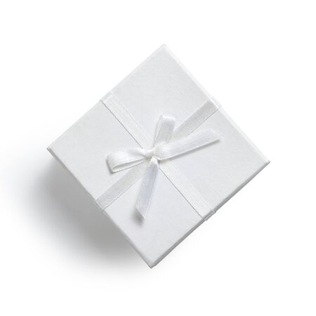 simple white gift box isolated on white photo