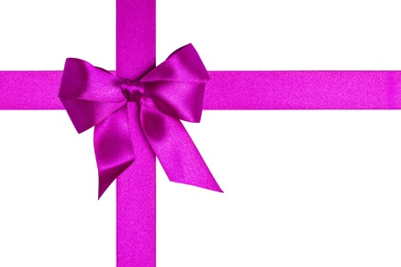 composition with purple ribbons and a bow isolated on white Stock Photo - 16289787