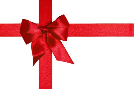 composition with red ribbons and a bow isolated on white Stock Photo - 16293370